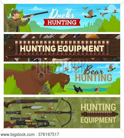 Hunting Sport Items And Equipment, Hunter With Rifle Ammunition On Hunt For Forest Birds And Animals
