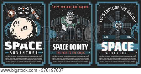 Universe Galaxy Outer Space Posters, Planets And Astronaut Spaceship Rocket, Vector. Galaxy Universe