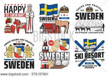 Sweden Icons, Travel, Holiday And Swedish Culture, Vector Stockholm Landmarks And Horse Symbol. Welc