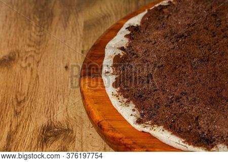 Sweet Pizza, Chocolate Pizza Covered With Ovomaltine A Type Of Brazilian Chocolate.