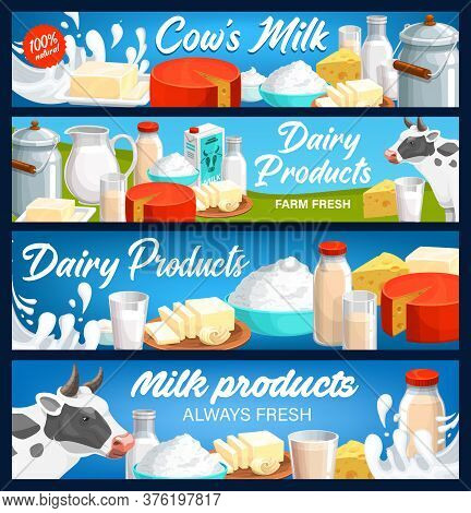 Dairy And Milk Products Banners, Farm Cheese, Butter And Yogurt Food, Vector. Dairy Farm Agriculture