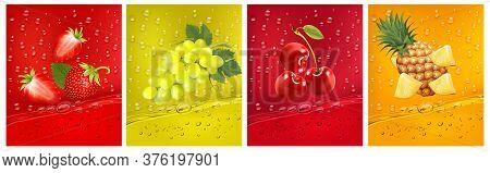 3d Fresh Fruits. Fresh Fruits Juice Splashing Together- Pineapple, Strawberry, Cherry Juice Drink Sp