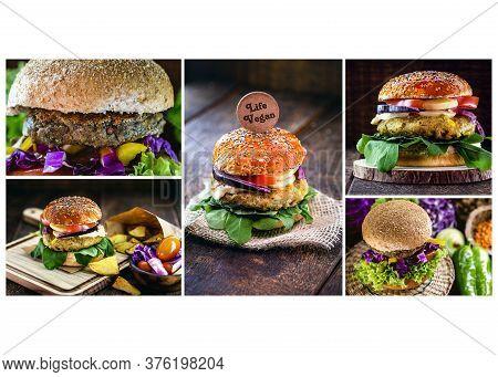 Meatless Vegan Burger, Vegan And Vegetarian Food, Gluten Free. Several Composite Photos. Vegan Vegan