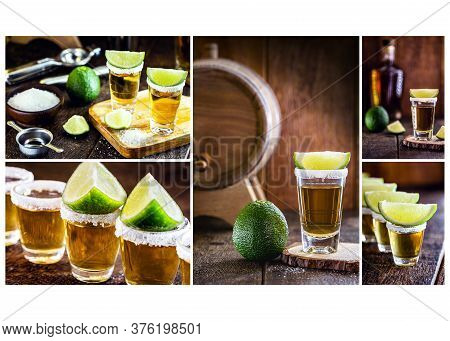 Composite With Several Photos Of Tequila, Mexican Drink With Salt And Lemon. International Tequila D
