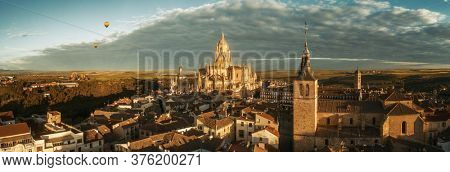 Segovia Cathedral aerial panorama view in Spain.