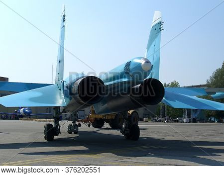 Russia, Novosibirsk, 01.01.2005: Engines Turbine Jet Fighter Jet Rocket Nozzles To Accelerate The Su