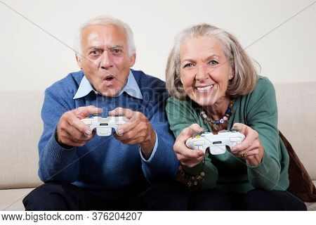 Portrait of excited senior couple playing video game at home