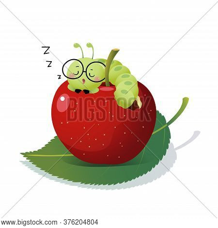 Vector Illustration Cute Cartoon Caterpillar Wearing Glasses And Sleeping On An Apple.