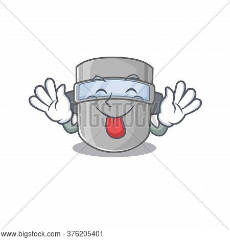 Funny Welding Mask Cartoon Design With Tongue Out Face