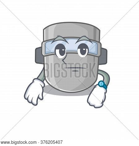 Mascot Design Style Of Welding Mask With Waiting Gesture