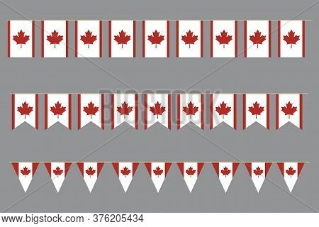 Canadian Flags. Vector Background Of Garland Symbols Of Canada. Logo Of Red Maple Leaf.