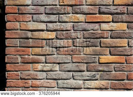 Old Vintage Grunge Brick Wall Background Texture With Place For Text.