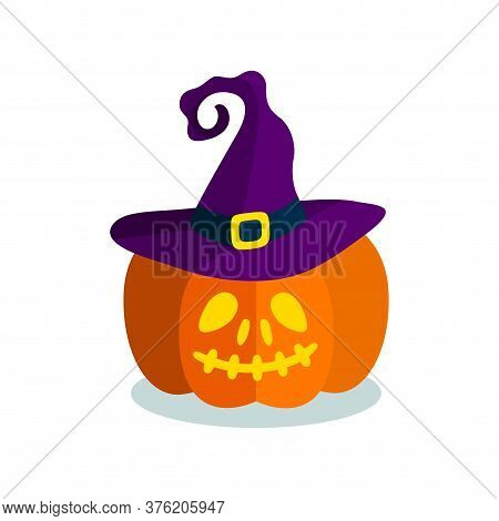 Carved Pumpkin In Witch Hat. Smiley Orange Pumpkin Isolated On White Background. Vector Illustration