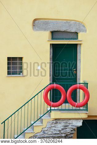 Italian style residential building closeup in Riomaggiore in Cinque Terre, Italy.