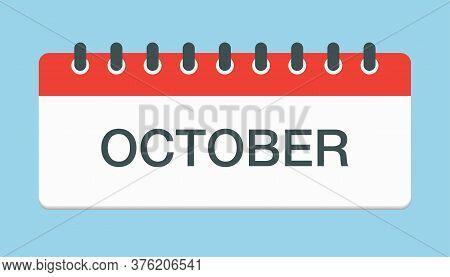 Vector Icon Day Calendar, Autumn Month October