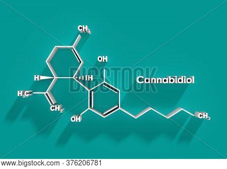 Cannabidiol Or Cbd Molecular Structural Chemical Formula. 3d Rendering