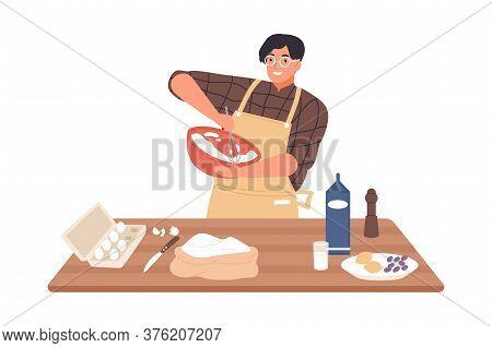 Happy Guy In Apron Mixing Ingredients Preparing Dough In Bowl Vector Flat Illustration. Smiling Man
