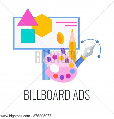 Billboard Ads Icon. Outdoor Advertising, Signboards. Outbound Marketing. Traditional Offline Promoti