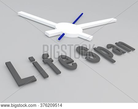 3d Illustration Of Life Span Title With A Clock As A Background