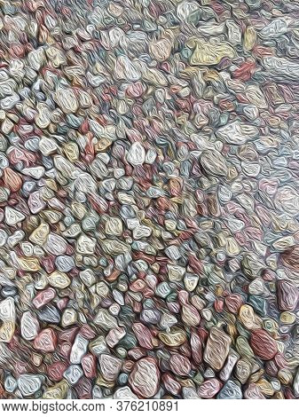 Intense Pastel Colors, Van Gogh Oil Painting Style Image Of Pebbles In Water, Seamless Background, A