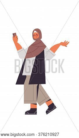 Arabic Woman In Traditional Clothes Arab Smiling Girl Using Smartphone Female Cartoon Character Stan