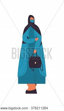 Arabic Woman In Traditional Clothes Wearing Prtective Mask Arab Girl With Handbag Standing Pose Fema