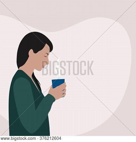 White Woman With Black Hair In Green Cardigan Holding Mug With Hot Drink On Blob Shape Background, S