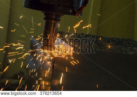 The Burning Chip From Cnc Milling Machine Rough Cutting  By Index-able  End-mill Tools. The Index-ab
