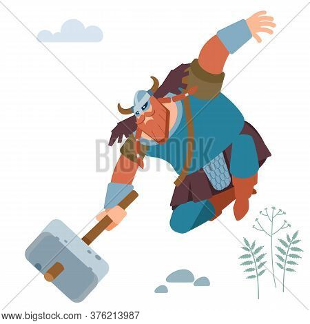 Northern Barbarian Viking Knight With Sledgehammer Attacks. Vector Flat Illustration.