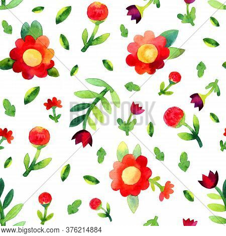 Colorful Watercolor Red And Purple Flowers In Naive Style On White Background. Seamless Botanical Wa