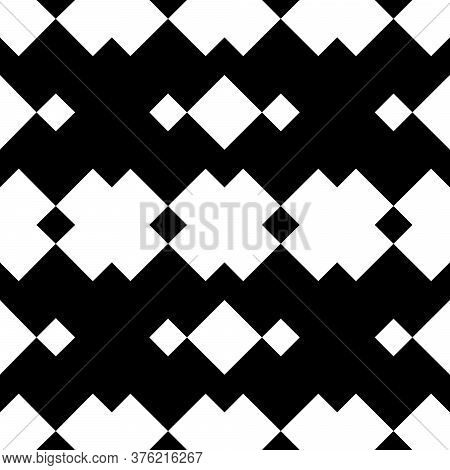 Seamless Batik Ornament, Monochrome Strips Of Diamonds