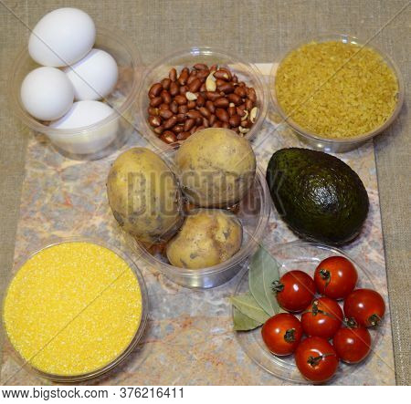 Ingredients For Instant Cooking From The Chef: Eggs, Potatoes, Bulgur, Cherry Tomatoes, Bay Leaves,