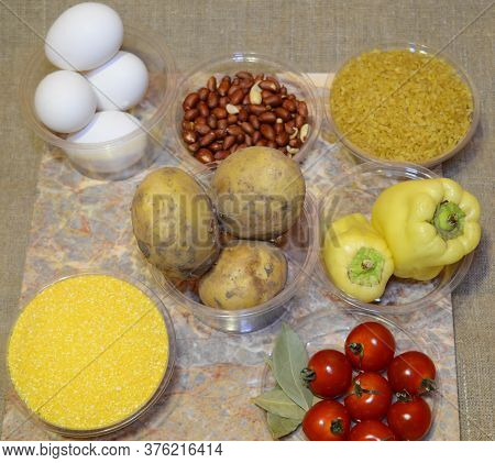 Ingredients For Quick Cooking From Cooks: Eggs, Potatoes, Bulgur, Cherry Tomatoes, Bay Leaves, Corn
