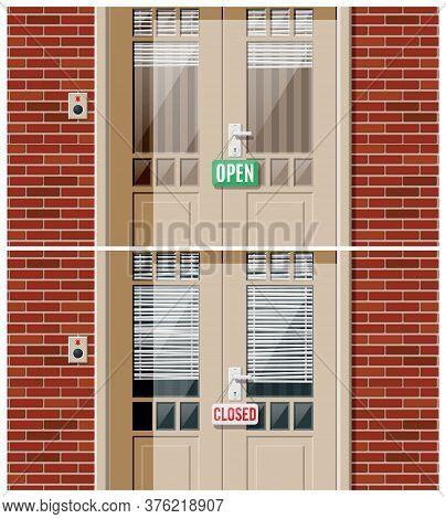 Shop Door With Windows And Window Blind. Wooden House Door With Chrome Handle, Doorbell And Open Clo