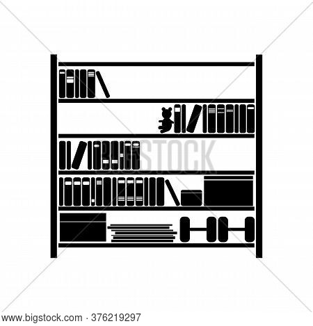 Bookcase. Black Color, On The Bookcase, A Bear And Dumbbells. Vector