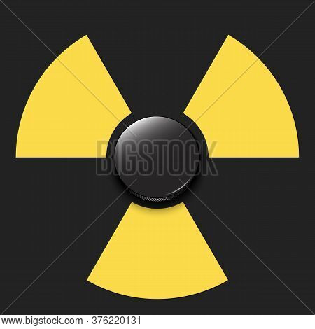 Radiaction Symbol With Hockey Puck. Caution Radioactive Danger Sign. Hockey Quarantined. Cancellatio