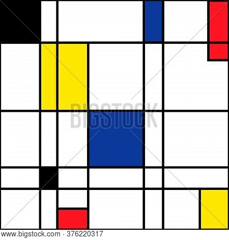 Mondrian Seamless Pattern. Bauhaus Abstract Checked Geometric Style Background In Blue, Red, Yellow