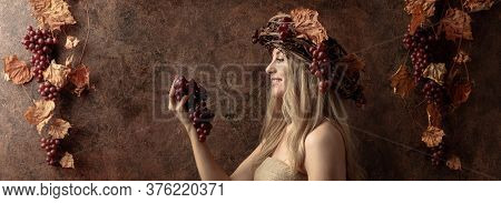 Portrait Of  Beautiful Caucasian Blonde Woman With Wreath On A Head. Shy Image Of A  Blonde Nymph In