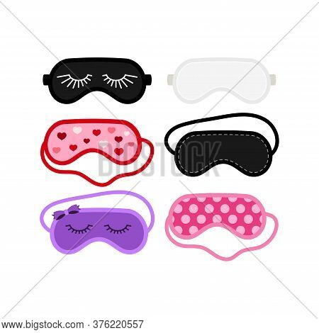 Sleep Beauty Masks Icon Set. Eye Protection Wear Accessory Collection - White, Pink, Black Purple. R