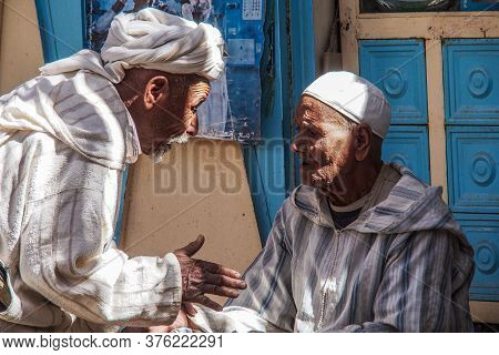 Rissani, Morocco - Oct 18, 2019: Local Residents Of The City Rissani In Their Activities On The Stre