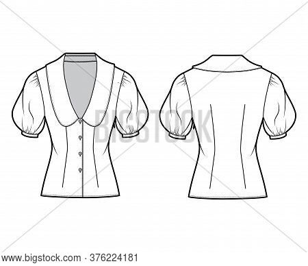 Blouse Technical Fashion Illustration With Collar Framing The Plunging V Neck, Oversized Medium Puff