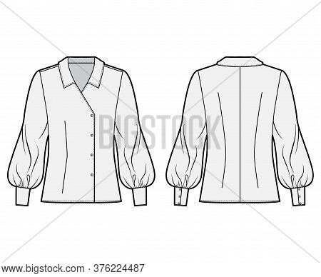 Blouse Technical Fashion Illustration With Oversized Body, Long Bishop Sleeves, Regular Collar, Doub