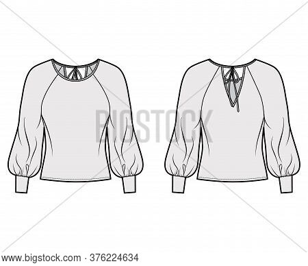 Blouse Technical Fashion Illustration With Wide Round Neck, Exaggerated Balloon Raglan Sleeves. Slee