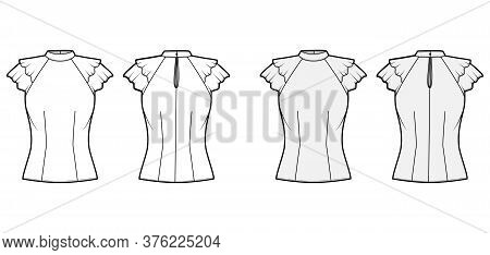 Blouse Technical Fashion Illustration Set With High Neckline Banded Collar, Fluttery Ruffles Short S