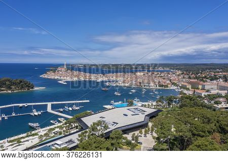 An Aerial Shot Of Coastal City Rovinj, Istria, Croatia