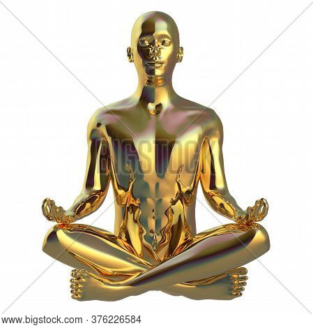 Meditate Man Sitting In Lotus Pose Stylized Figure Golden Sparkling Glossy. Human Peace Of Mind Ment