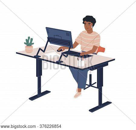 Smiling Black Skin Female Employee Sitting At Modern Ergonomic Workplace Vector Flat Illustration. J