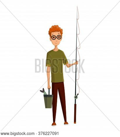 Young Man With Glasses, Fishing Rod And A Bucket In His Hands. Caught Fish In A Bucket. Successful F