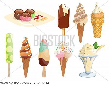 Tasty Colorful Ice Cream Set. Collection Ice-cream Cones And Ice-cream On A Stick Isolated On White