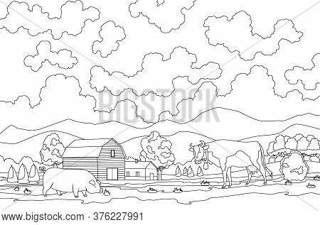 Coloring Of Eco Farming. Meadow Illustration Eco Natural Farming Concept. Ecological Green Farming.